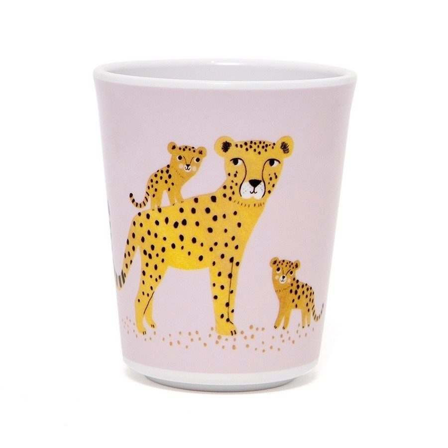 כוס מלמין נמר - ורוד