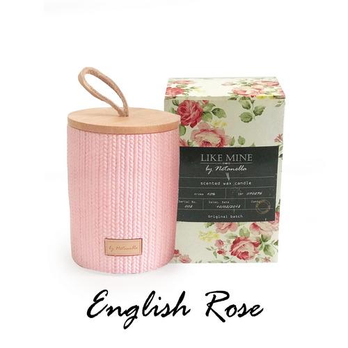 נר בכלי קרמיקה ורוד - English Rose