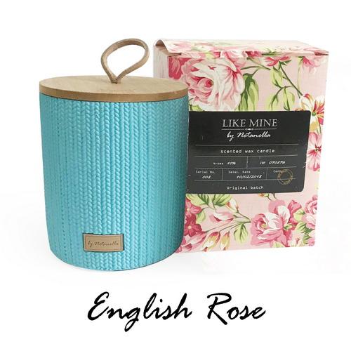 נר בכלי קרמיקה תכלת - English Rose