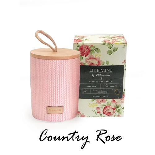 נר בכלי קרמיקה ורוד - Country Rose
