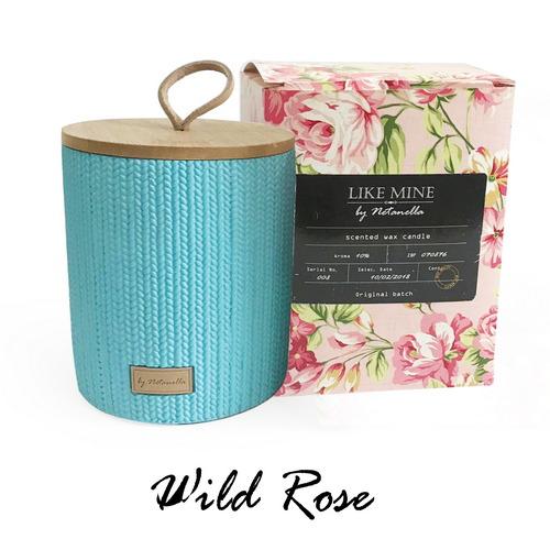 נר בכלי קרמיקה תכלת - Wild Rose