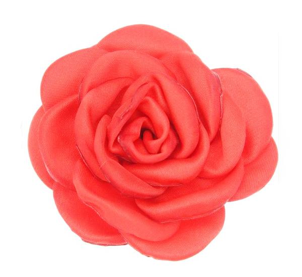 פרח בד סאטן גדול - אדום בוהק