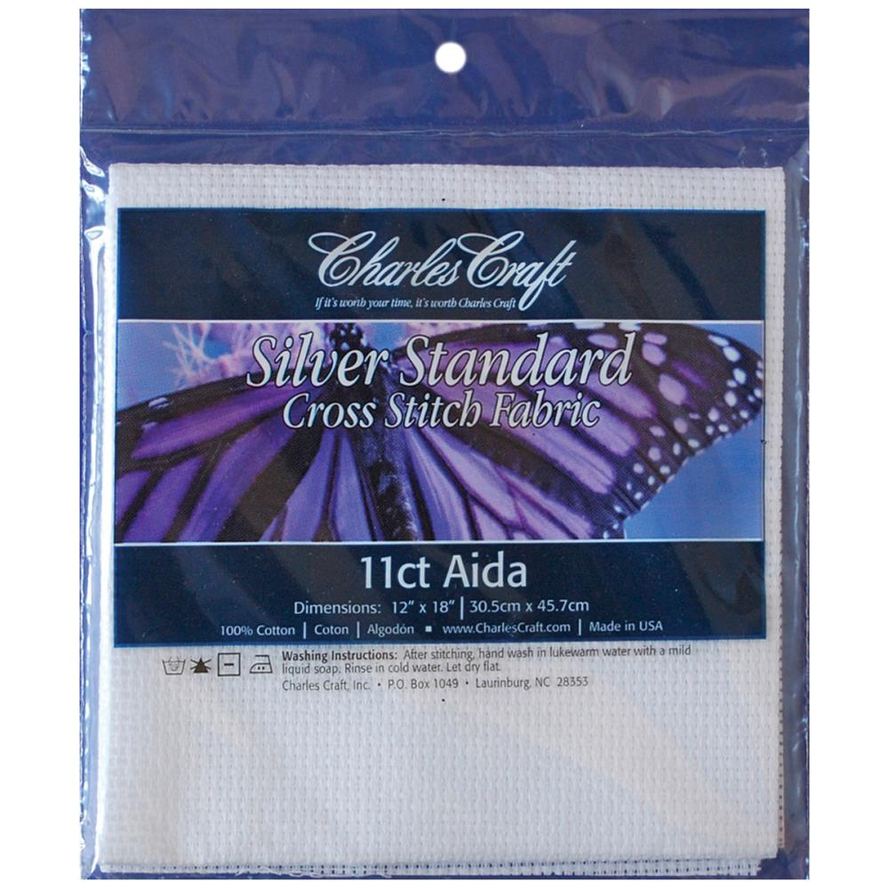 "בד לריקמה: Aida Fabric - White 11X18"" - 11CT"