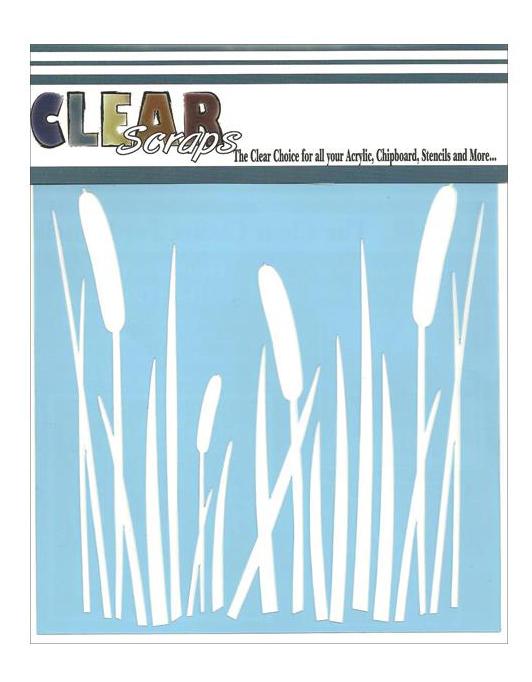 "Clear Scraps Stencils 12""X12"" - Cattails"