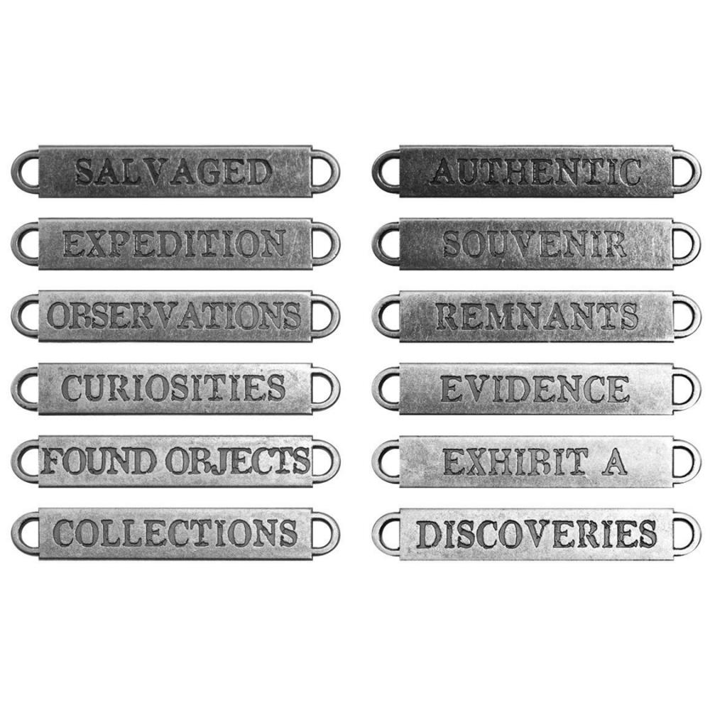 Idea-Ology Metal Word Bands - Antique Nickel Observations