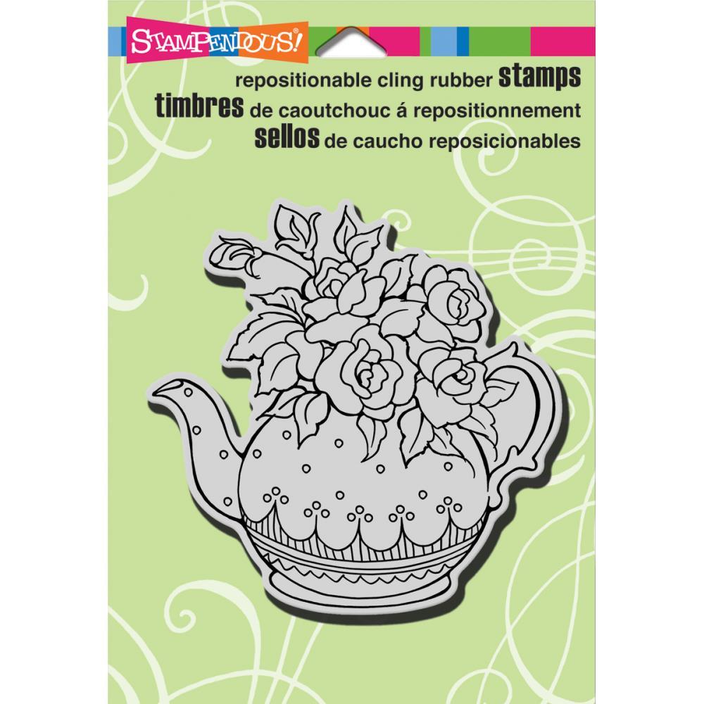 חותמת קלינג - Cling Stamp - Teapot Posies