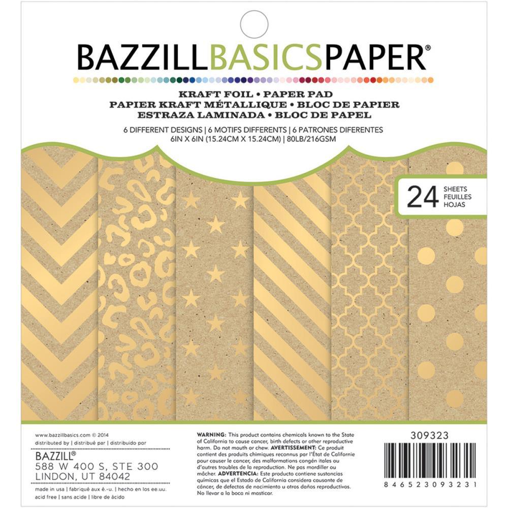 """Cardstock Pad 6""""X6"""" - Kraft W/Gold Foil"""