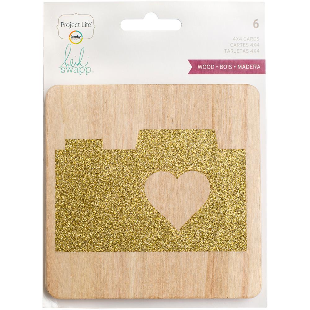 חיתוכי עץ - Project Life Glittered Wood Veneer Cards