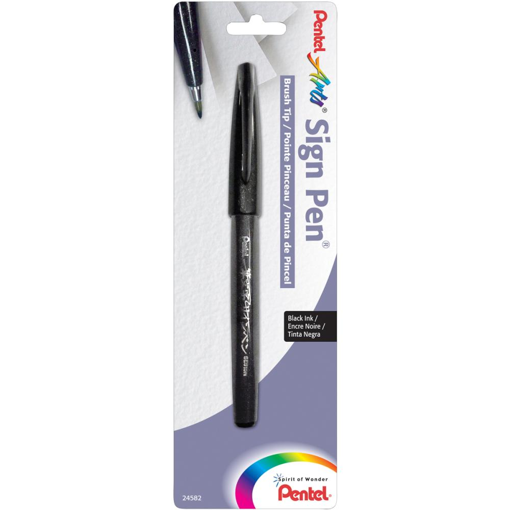 טוש שחור - Pentel Arts Sign Pen With Brush Tip - Black