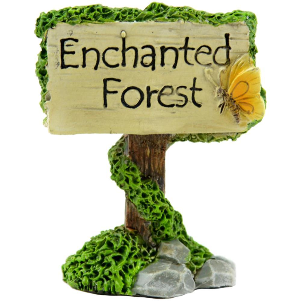 מיניאטורה - Fairy Garden Enchanted Forest Sign