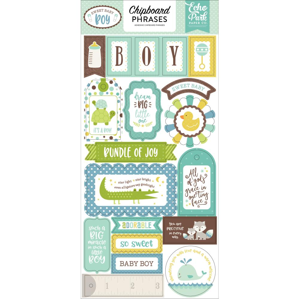 "חיתוכי צ'יפבורד - Sweet Baby Boy Chipboard 6""X13"" Phrases"