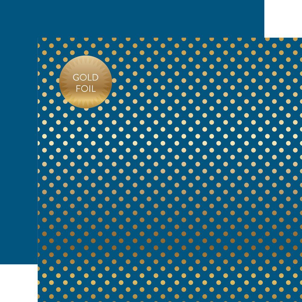 דף קארדסטוק - Foiled Dot - Bluejay Dot