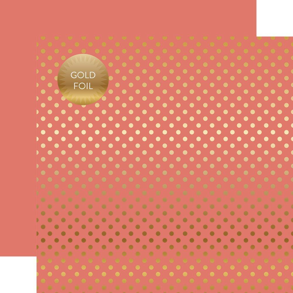 דף קארדסטוק - Foiled Dot - Peony Dot