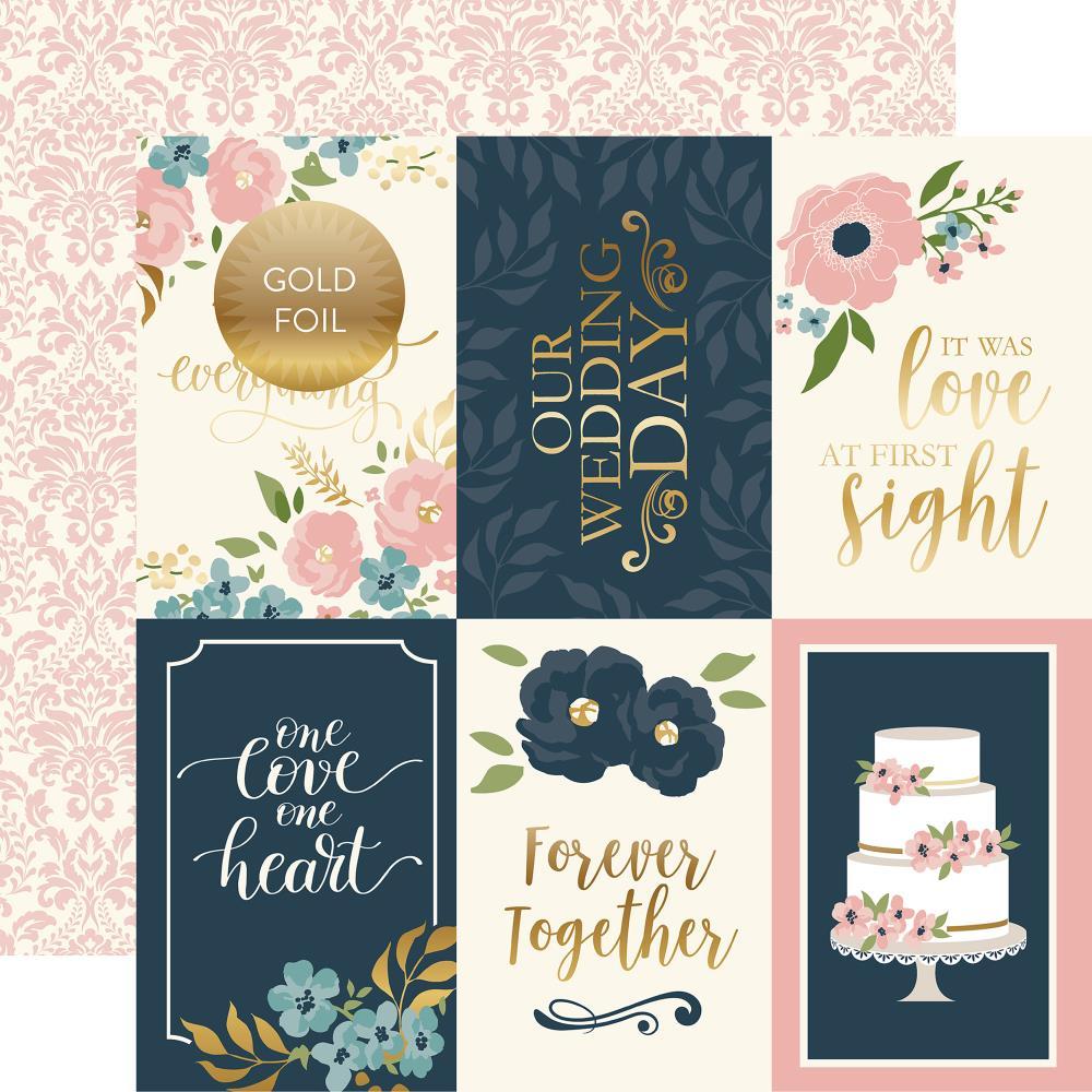 """דף קארדסטוק פויל - Just Married - 4""""X6"""" Journaling Cards"""