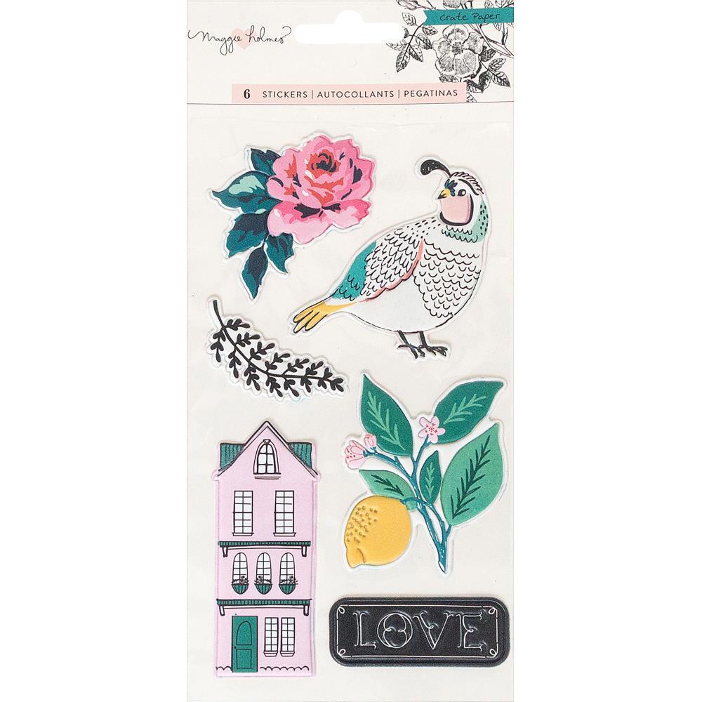 מדבקות פאף - Flourish Embossed Puffy Stickers