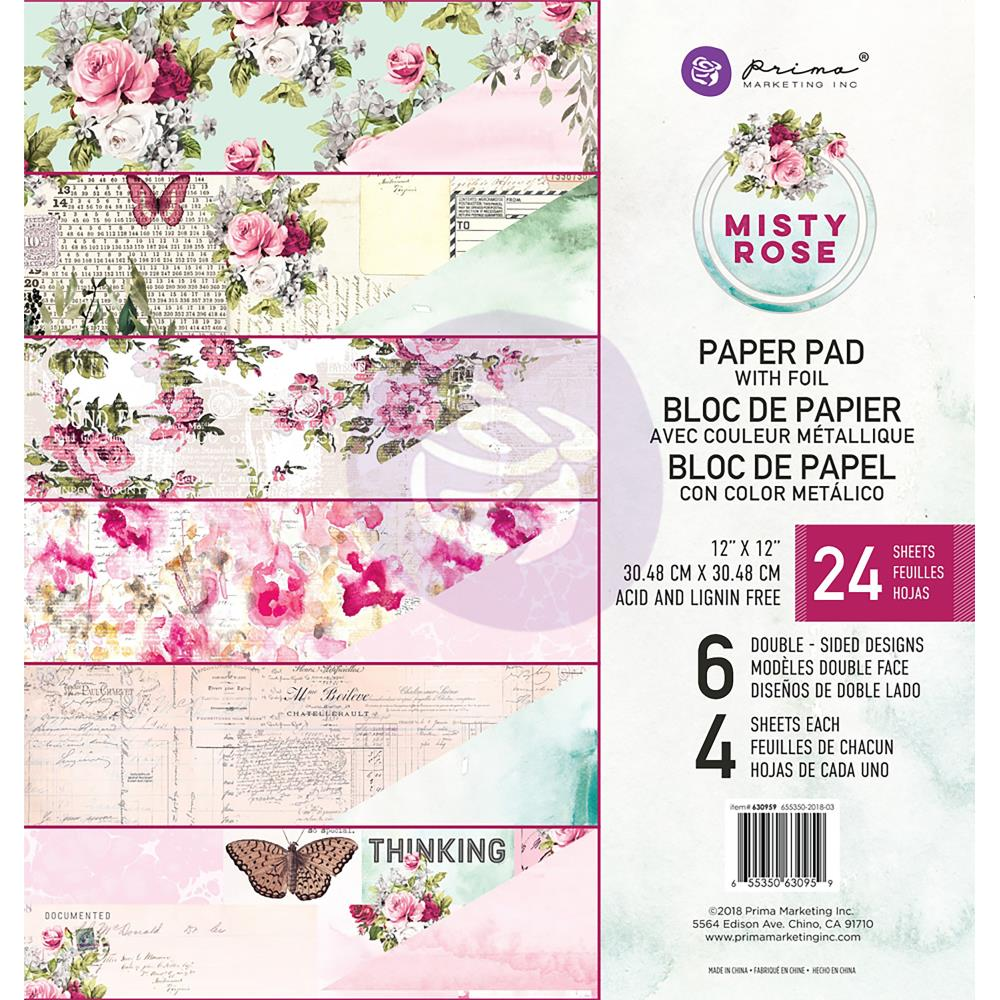 "Misty Rose Paper Pad 12""X12"""