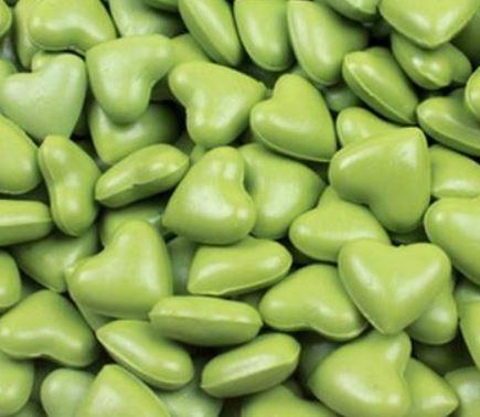 פתיתי שעווה להטבעת חותמות - לבבות ירוק בהיר