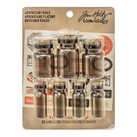 בקבוקי זכוכית Corked Glass Vials Apothecary Amber