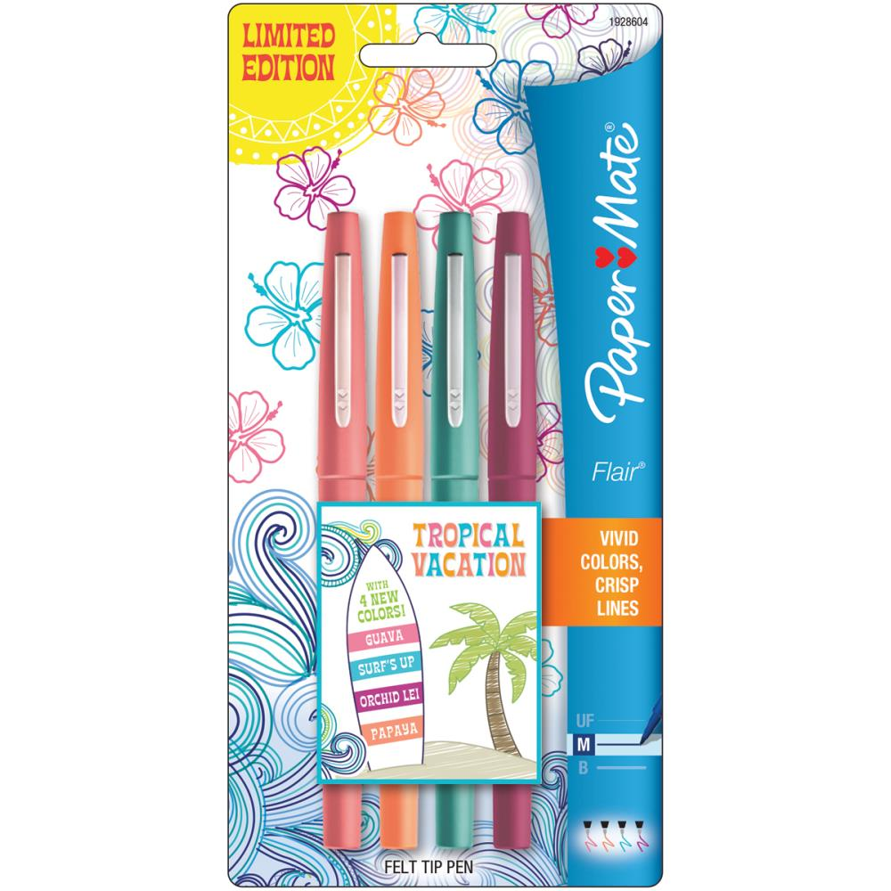 עטים צבעוניים 4 יחידות Tropical Vacation Flair Medium Felt Tip Pens