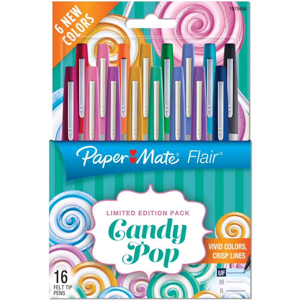 עטים צבעוניים 16 יחידות Candy Pop Flair Ultra Fine Felt Tip Pens