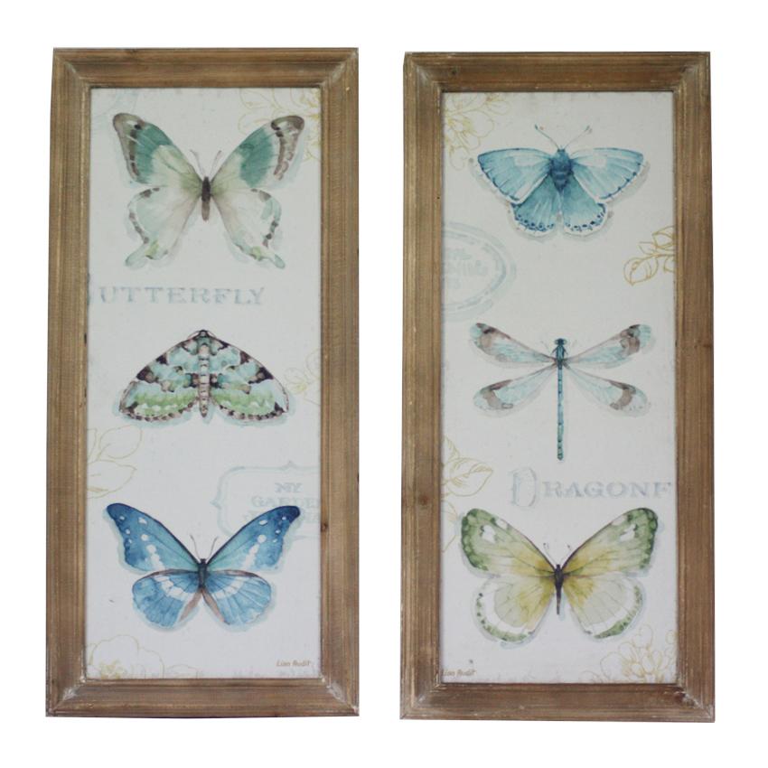 סט תמונות מוארך הדפס פרפרים ושפיריות מסגור עץ