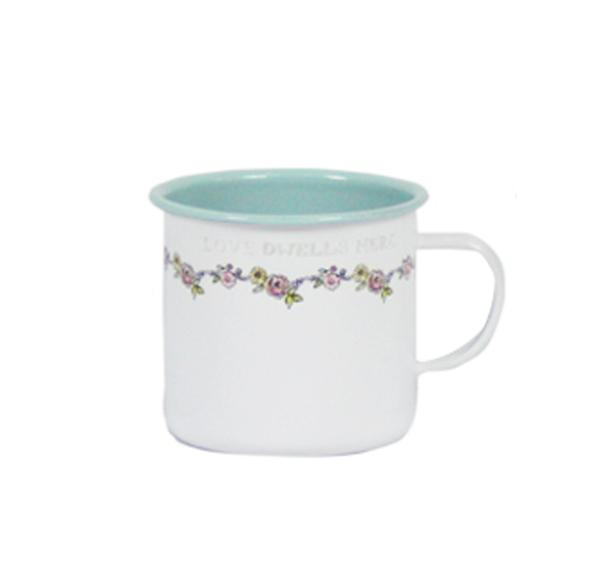 כוס אמייל - פרחים