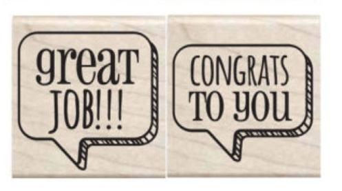 זוג חותמות עץ קטנות - Great Job / Congrats