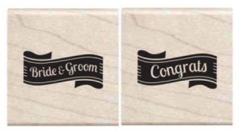 זוג חותמות עץ קטנות - Bride & Groom