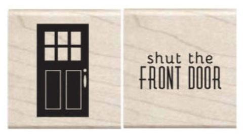 זוג חותמות עץ קטנות - Shut the Front Door