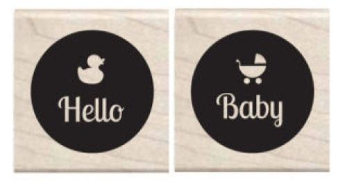 זוג חותמות עץ קטנות - Hello Baby
