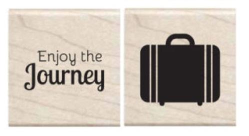 זוג חותמות עץ קטנות - Enjoy the Journey