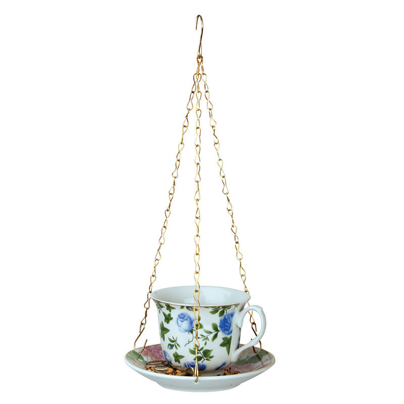 מתקן האכלה כוס תה - פרחים כחולים