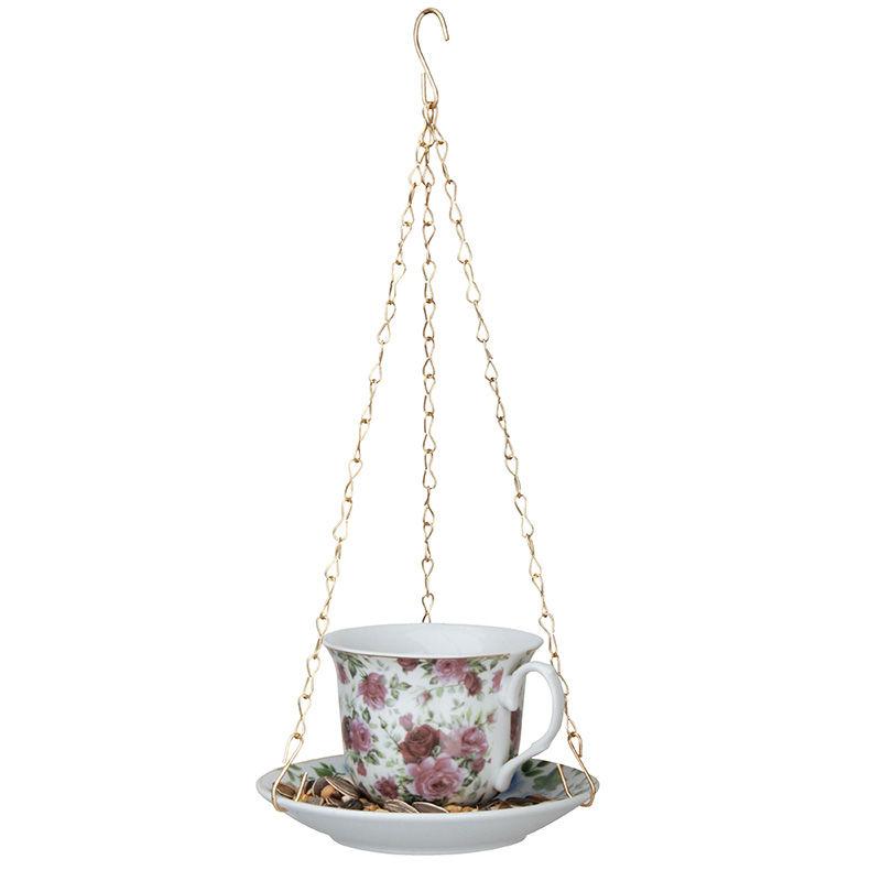 מתקן האכלה כוס תה - פרחים בורדו