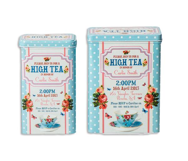 זוג קופסאות פח מלבניות High Tea