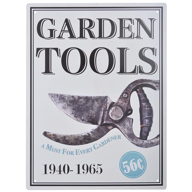 שלט מתכת גדול Garden Tools