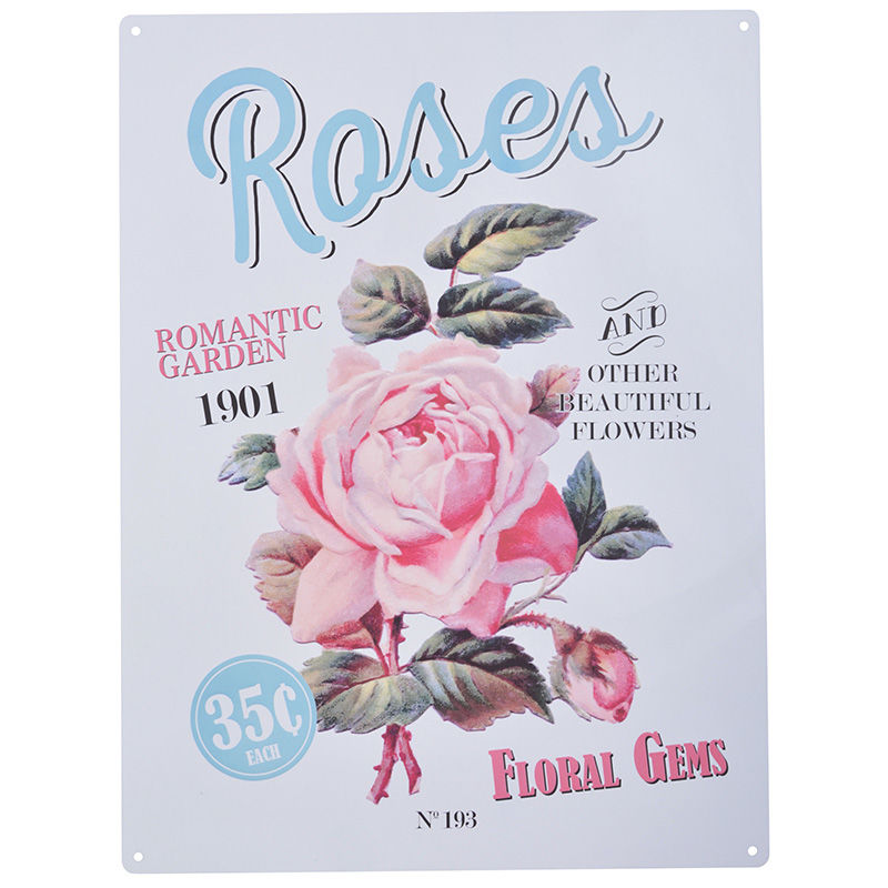 שלט מתכת גדול Roses