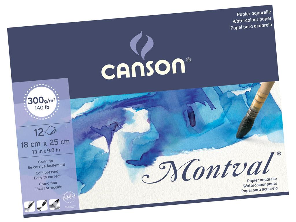 בלוק נייר לצבעי מים canson-montval - A5