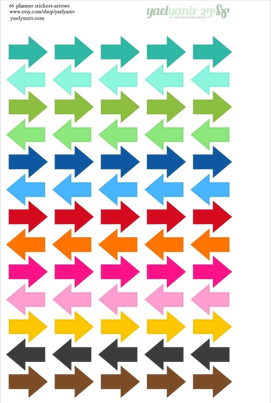 גליון מדבקות לפלאנר/יומן - חיצים צבעוניים