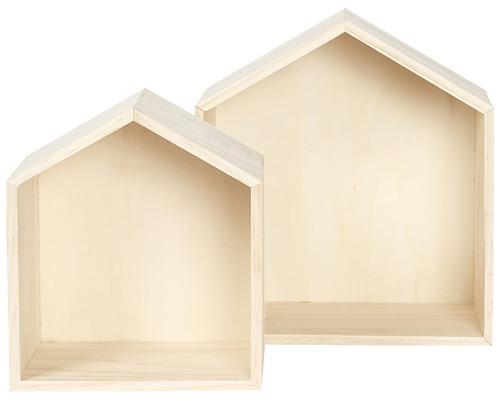 סט 2 מדפי עומק - צורת בית