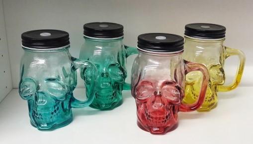 כוס זכוכית גולגולת - מגוון צבעים