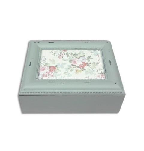 קופסת עץ מלבנית עם מסגרת - אפור