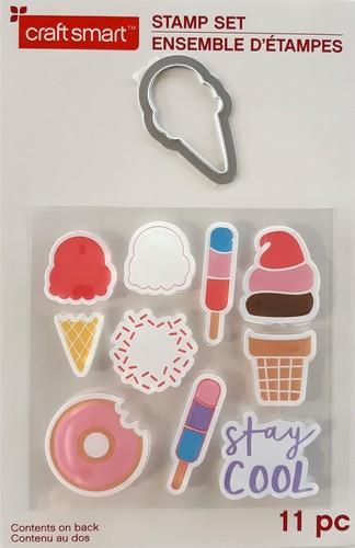 סט תבנית חיתוך וחותמות - גלידה של יום מתוק