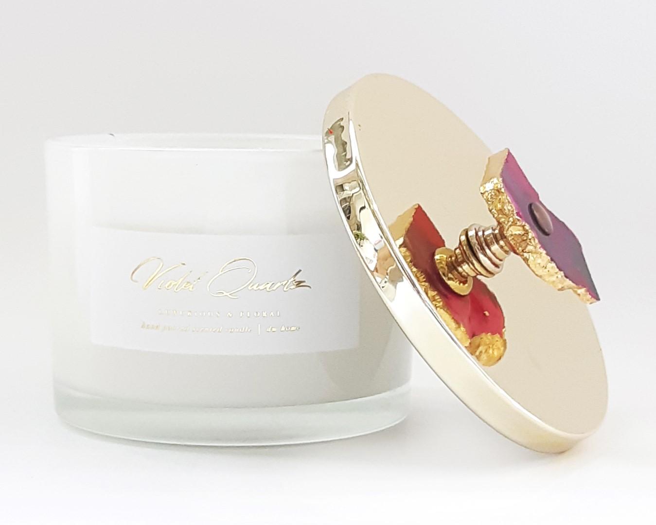 נר בצנצנת עם מכסה זהב וידית אבן - Violet Quartz