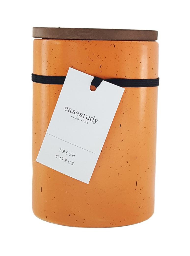 נר צילינדר מאורך עם מכסה עץ - Fresh Citrus