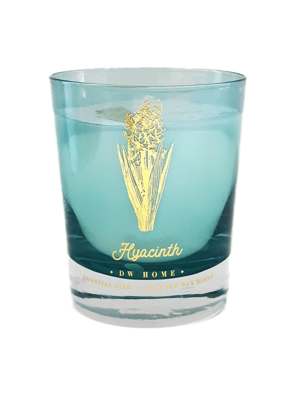נר בכלי זכוכית עם בסיס עבה ועיטור זהב - Hyacinth