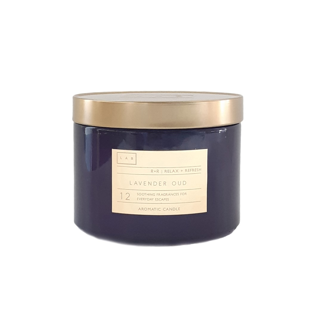 נר בצנצנת רחבה עם מכסה מוזהב - Lavender Oud