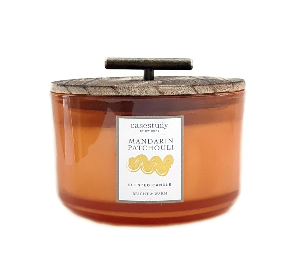נר בכלי רחב עם מכסה עץ וידית זהב - Mandarin Patchouli