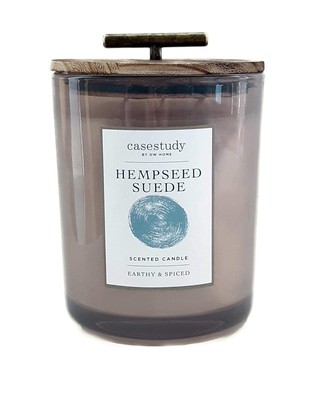 נר צילינדר XL עם מכסה עץ וידית זהב - Hempseed Suede