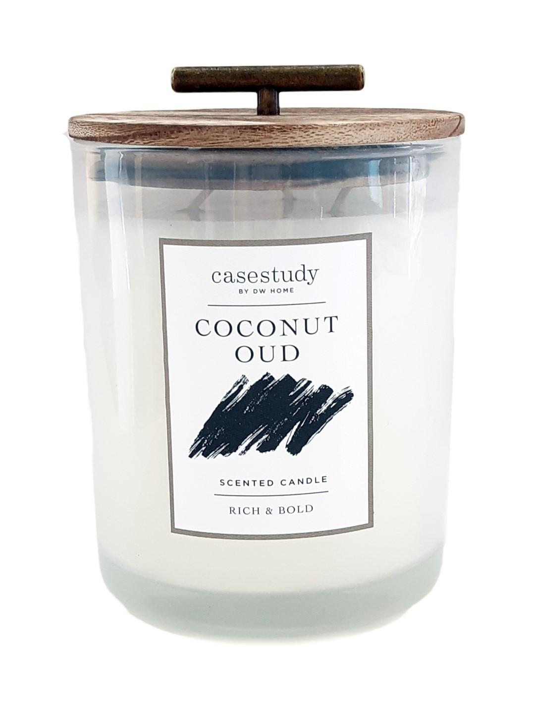 נר צילינדר XL עם מכסה עץ וידית זהב - Coconut Oud