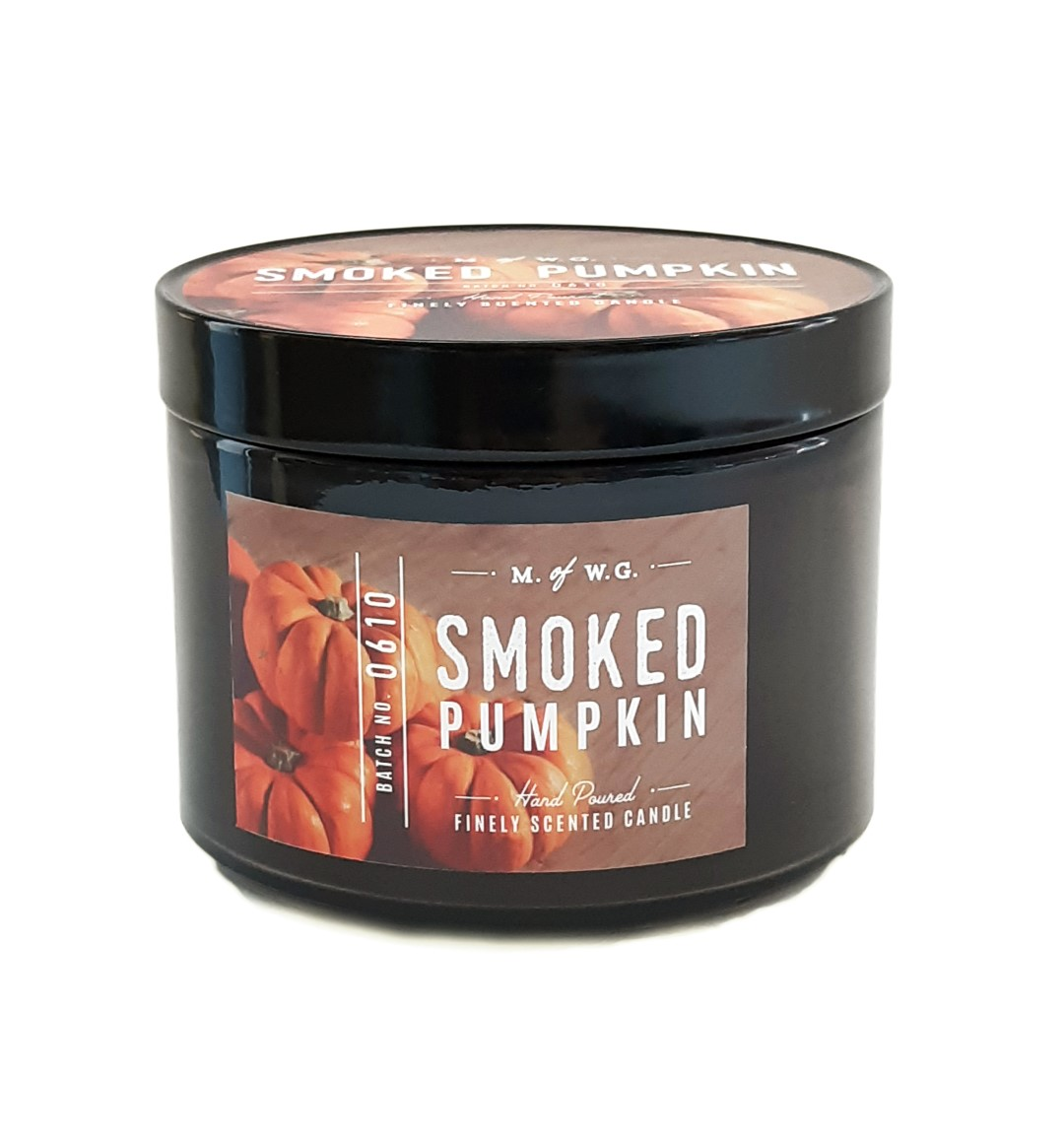 נר בצנצנת רחבה עם הדפס - Smoked Pumpkin